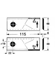 COLTELLO/LAMINO 115 x 48 Sp.4- Foro ø19,0 - Sinistro